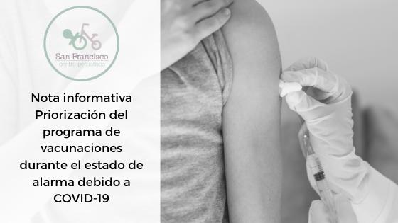 Nota informativa Priorización del programa de vacunaciones durante el estado de alarma debido a COVID-19