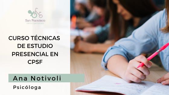 TÉCNICAS DE ESTUDIO CLASES PRESENCIALES EN CENTRO PEDIÁTRICO SAN FRANCISCO